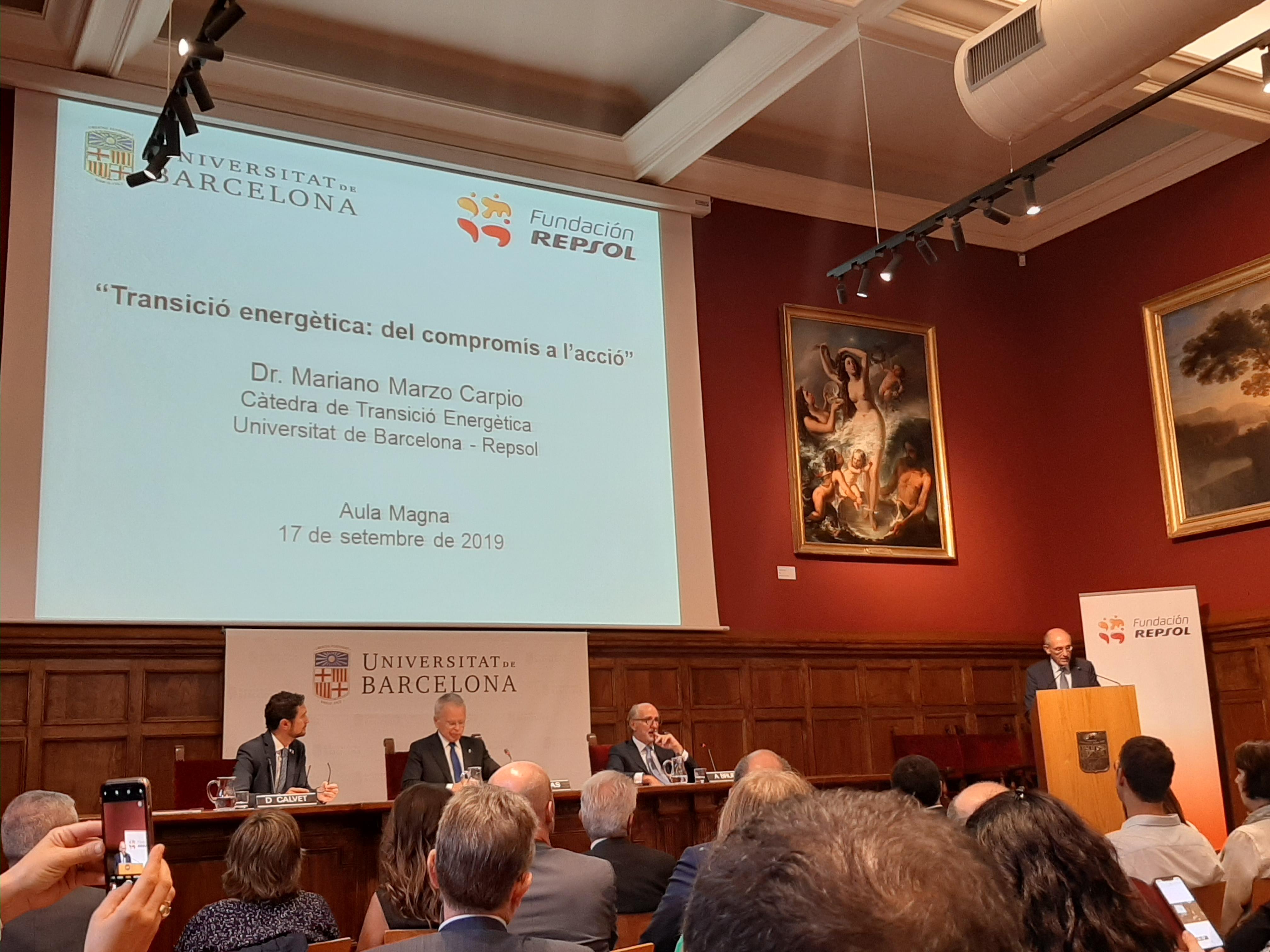 Presentació de la Càtedra UB-Repsol de Transició Energètica