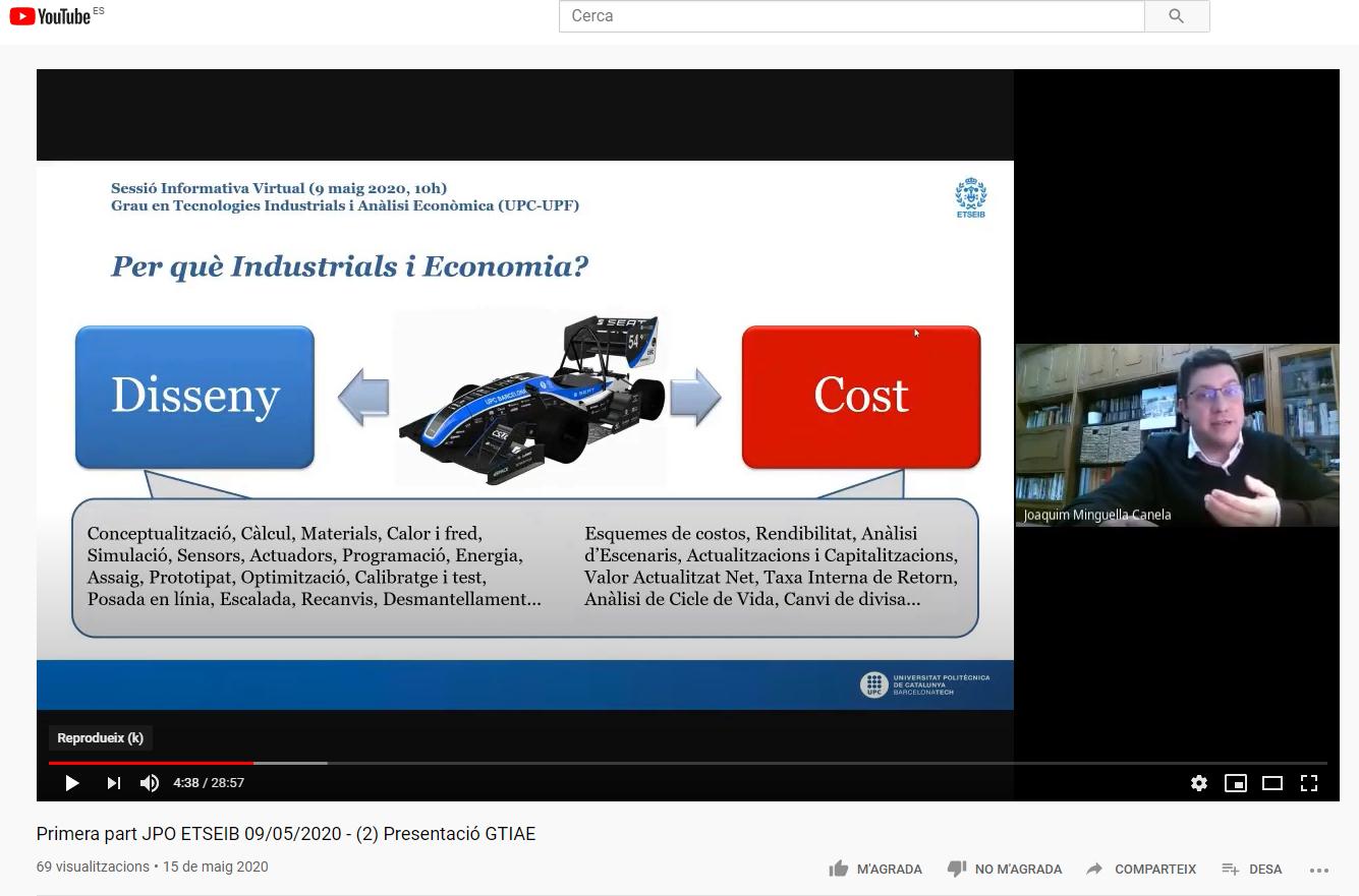 Disponibles els vídeos de les sessions informatives del grau en tecnologies industrials i anàlisi econòmica
