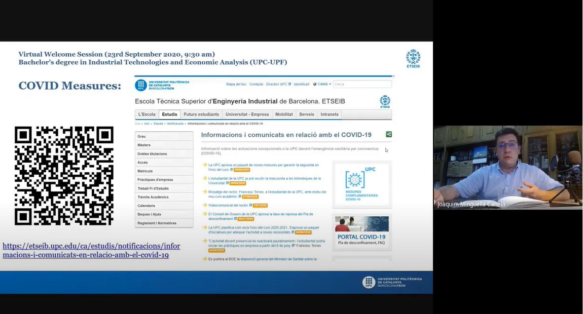 Sessió d'acollida virtual de la tercera promoció del grau en IT&EA